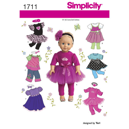 "Simplicity Pattern 1711 18"" Doll Clothes"