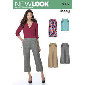 New Look Pattern 6419 Misses' Easy Pants and Skirts