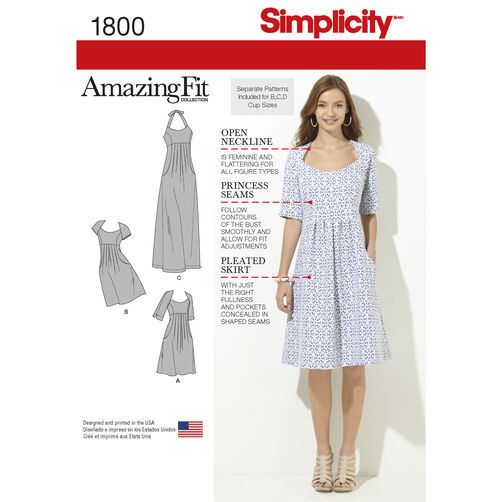 Simplicity Pattern 1800 Misses' & Plus Size Amazing Fit Dresses
