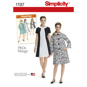 Simplicity Pattern 1197 Misses' Vintage Dress and Lined Coat