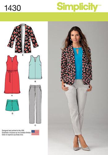 Misses' Slim Pants, Shorts, Dress or Top and Jacket