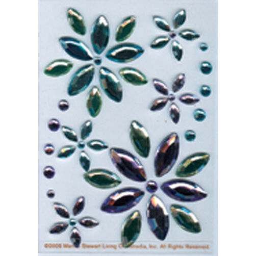 Blue & Lavender Flower Gem Stickers_M860606
