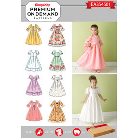 Simplicity Pattern EA354501 Premium Print on Demand Child's Special Occasion Dresses