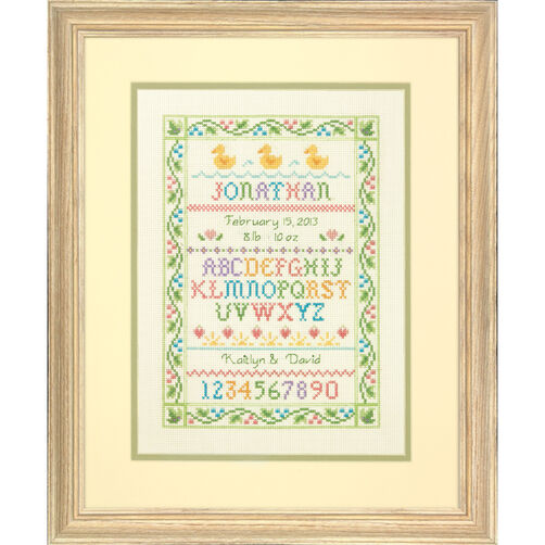 Alphabet Sampler Birth Record, Counted Cross Stitch_70-73815