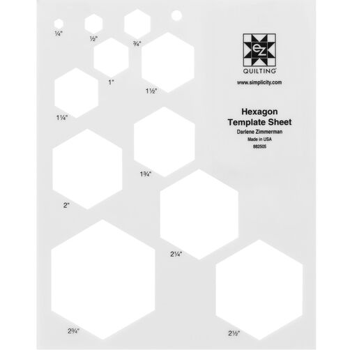 Number Names Worksheets hexagon printable template : EZ Quilting 882505 Hexagon Template Sheet | Simplicity and EZ Quilting