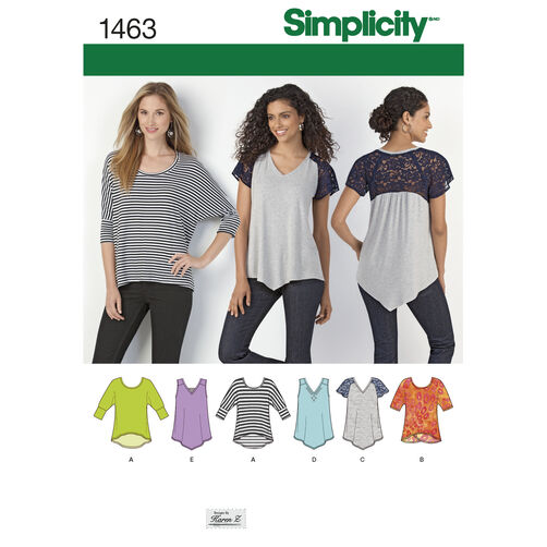 Simplicity Pattern 1463 Misses' Knit Tops
