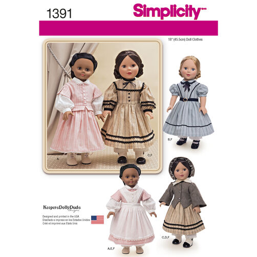 "Simplicity Pattern 1391 Civil War Doll Costume for 18"" Doll"
