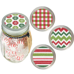 Holiday Patterns Jar Toppers, Counted Cross Stitch_70-08943