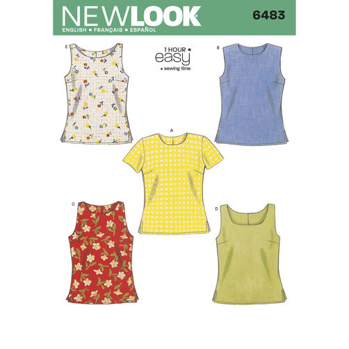 New Look Pattern 6483 Misses Tops