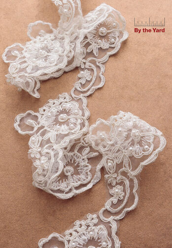 """3"""" Flower Scroll with Pearls"""