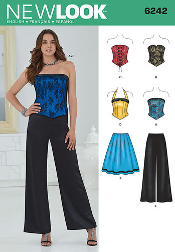 Misses' Corset Top, Pants and Skirt