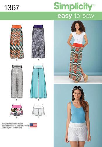 Misses' Slim Maxi Skirt, Pants & Shorts