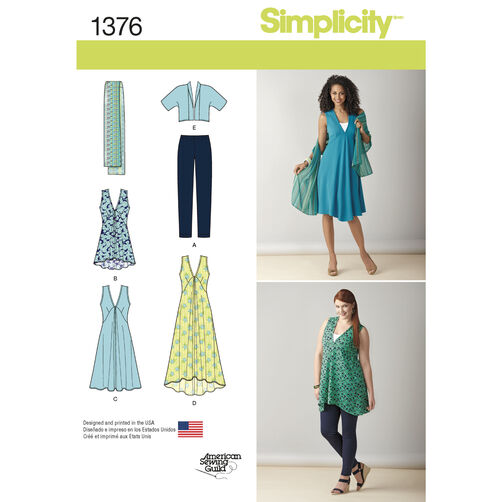 Simplicity Pattern 1376 Misses' & Plus Size Jacket, Top, Dress & Leggings