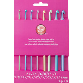 6 Inch Crochet Hook Set Sizes D-K Aluminum