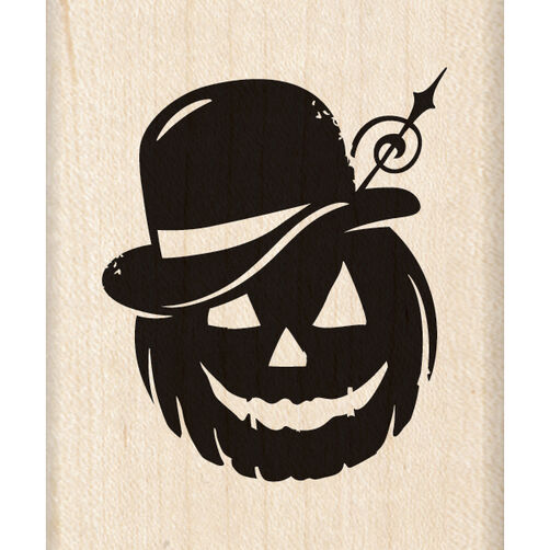 Bowler Hat Pumpkin Wood Stamp_60-00923