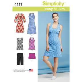 Simplicity Pattern 1111 Misses' Easy Knit Sport Dresses, Tunics and Shorts