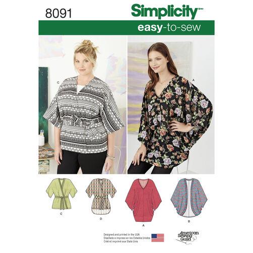 Simplicity Pattern 8091 Misses Kimonos in Various Styles
