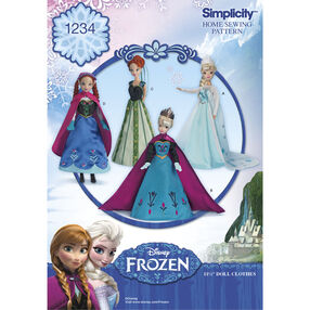 "Simplicity Pattern 1234 Disney's Frozen 11-1/2"" Doll Clothes"