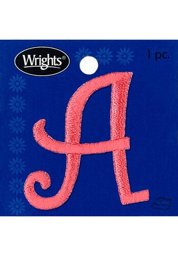 """1-1/2"""" Curlz Font Letter Iron-On Applique, Pink"""