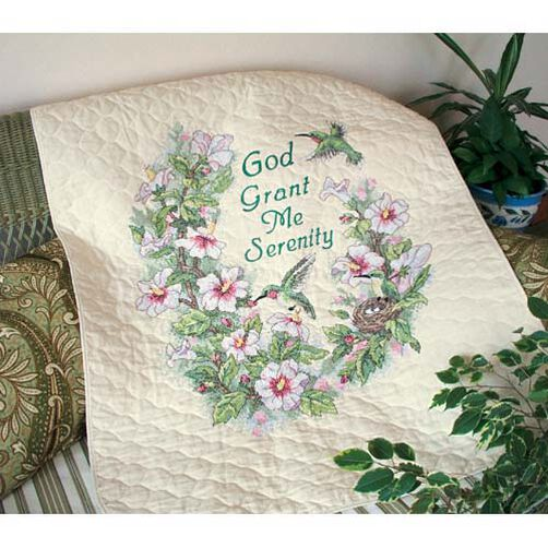Serenity Hummingbird Quilt, Stamped Cross Stitch_03232