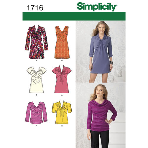 Simplicity Pattern 1716 Misses' Knit Top and Mini Dress