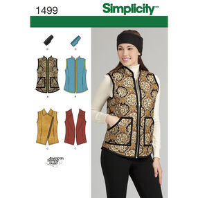 Simplicity Pattern 1499 Misses' Vest and Headband in Three Sizes