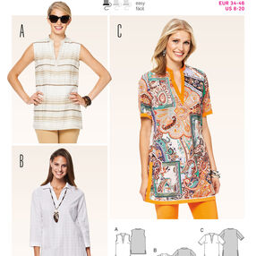 Burda Style Pattern 6809 Tops, Shirts, Blouses