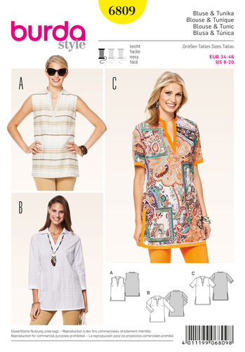 Burda Style Pattern 6809 Tops, Shirts, Blouses