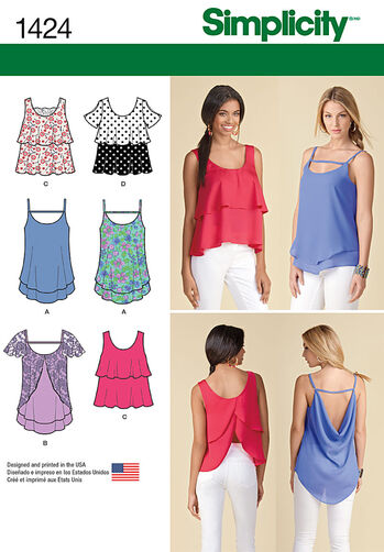 Misses' Pullover Tops with Back Interest