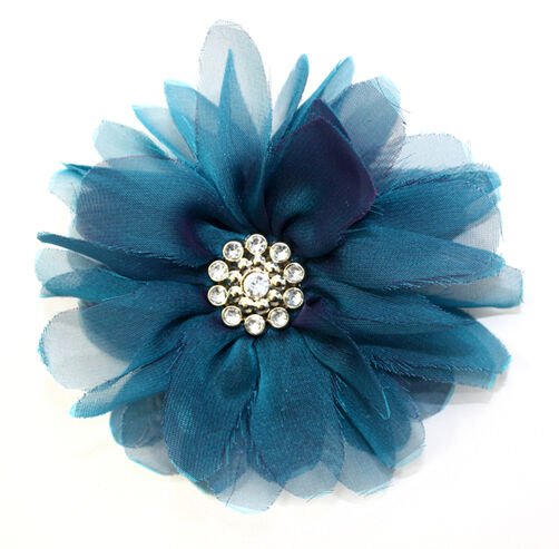 Teal Billow Bloom Pin & Clip Flower_56-63001