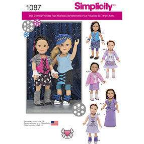 "Simplicity Pattern 1087 18"" Doll Clothes"