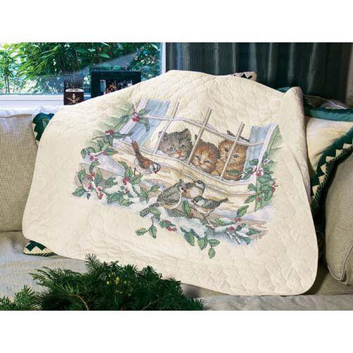 Three Bird Watchers Quilt, Stamped Cross Stitch_03231