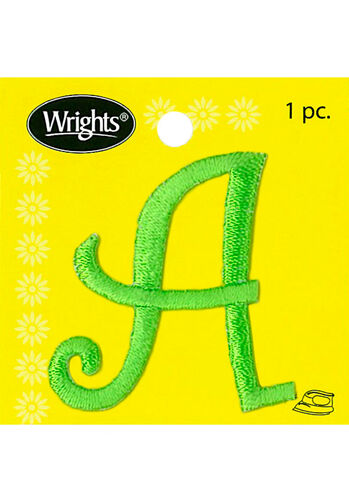 "1-1/2"" Curlz Font Letter Iron-On Applique, Green"