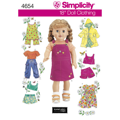 "Simplicity Pattern 4654 18"" Doll Clothes"