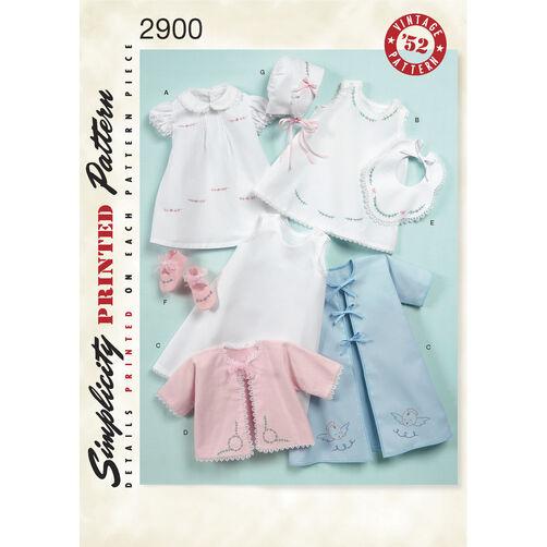 Simplicity Pattern 2900 Babies' 1950s Vintage Layette