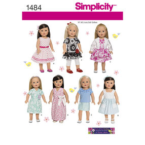 """Simplicity Pattern 1484 18"""" Doll Clothes"""