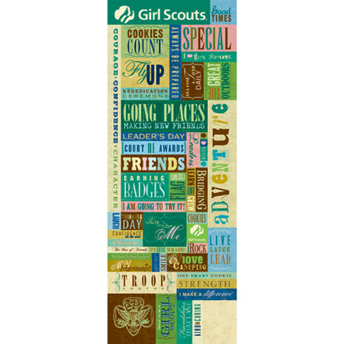 Girl Scouts Words & Icons Embossed Stickers_550803
