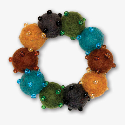 Blue and Brown Wool Felt Bead Bracelet_72-73672