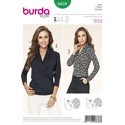 Burda Style Pattern 6838 Tops, Shirts,Blouses