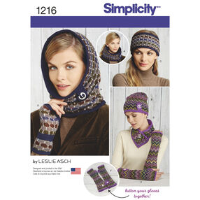 Simplicity Pattern 1216 Misses' Knit Cold Weather Accessories