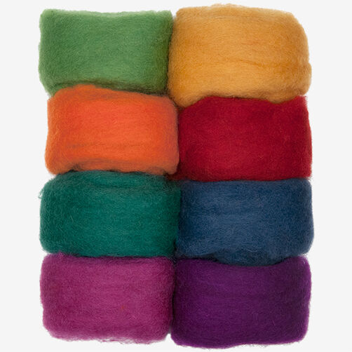 Rainbow Wool Roving - 8 Pack, Needle Felting_72-74002