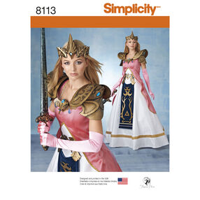 Simplicity Pattern 8113 Misses' Costume with Craft Foam Armor, Belt and Crown