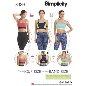 Simplicity Pattern 8339 Misses' Knit Sports Bras