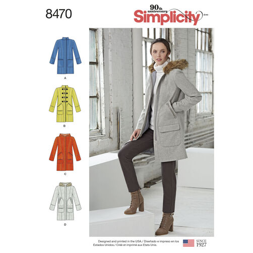 Simplicity Pattern 8470 Misses' Lined Coat with Collar or Hood and Pocket Variations