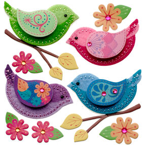 Stitched Colorful Birds Stickers_50-21368