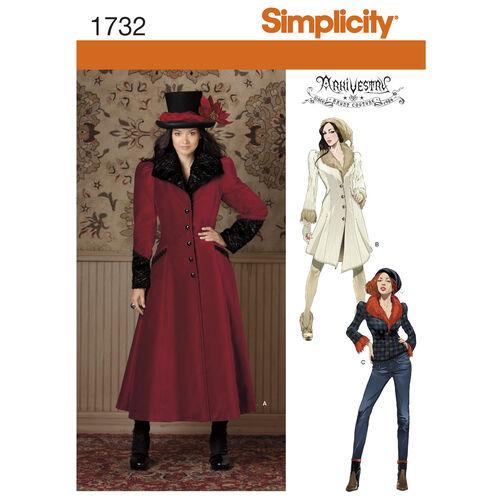 Simplicity Pattern 1732 Misses' Costume Coat