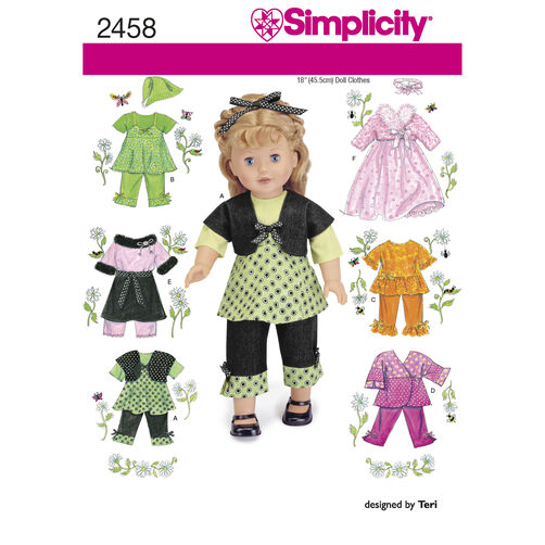 "Simplicity Pattern 2458 18"" Doll Clothes"