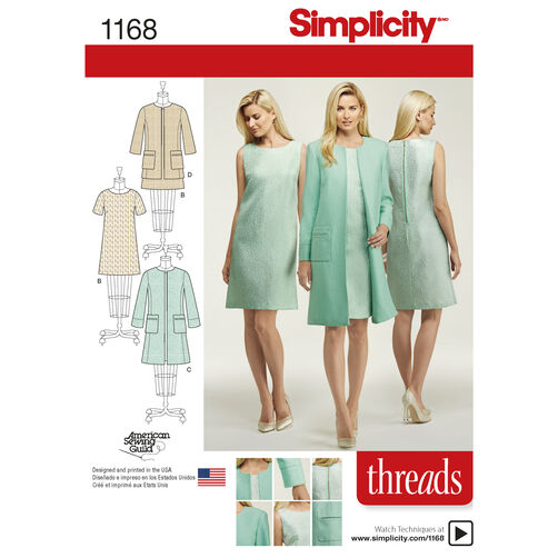Simplicity Pattern 1168 Misses' Dresses and Coat or Jacket