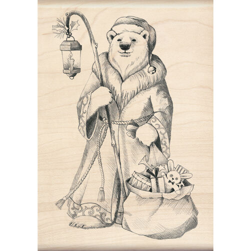 Santa Polar Bear Wood Stamp_60-00930
