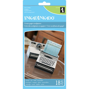 Camera & Typewriter Paper Sculpture Clear Stamps_60-31254